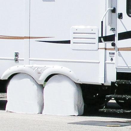 White Rv Tire Shade